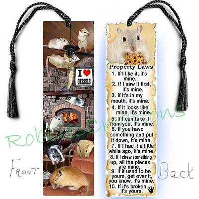 Large GERBIL BOOKMARK Tassel FUN Small Pet Rules Art Book CARD Figurine Ornament