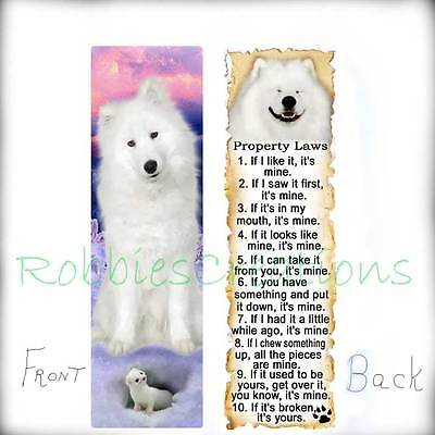 SAMOYED Sled DOG BOOKMARKS Dog RULES American Eskimo White Spitz White Ferret