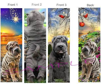 3 - Super FUN CHINESE SHAR PEI BOOKMARK Wrinkle Dog Book Mark ART Card figurine