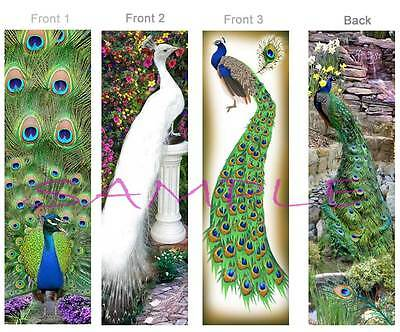 3-PEACOCKS BOOKMARKS Peafowl PEACOCK Tail Feather WHITE BIRD ART Book Mark Card