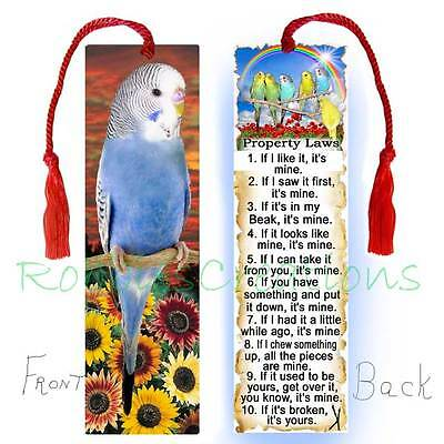 BUDGIE BOOKMARK w/ TASSEL LARGE Art BLUE Parakeet Bird Book Mark CARD Figurine