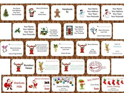 Personalised Christmas Xmas Stickers Labels Address Gift Tag Santa Reindeer