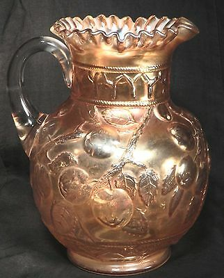 Antique Carnival Glass Water Pitcher Fenton Marigold Apple Tree  9.5 inch