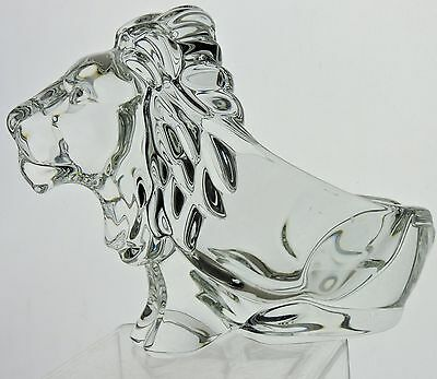 Vintage Heavy Glass Or Crystal Lion Figurine Ashtray Signed