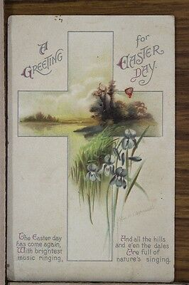 """ANTIQUE 1910's EASTER POSTCARD """"Spring Time Lakeside In Cross"""" Posted"""