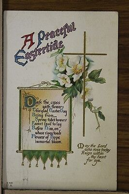 """ANTIQUE 1910's EASTER POSTCARD """"Deck The Cross With Flowers"""" Posted"""