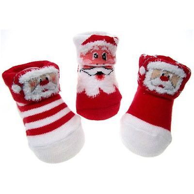 baby Bootees's cute christmas baby socks age 0-3 months cotton 3 designs