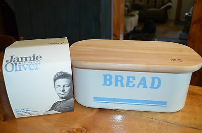 Jamie Oliver vintage inspired retro blue bread bin and board-new