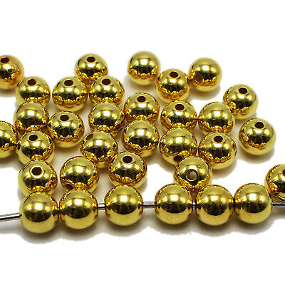 Golden Metallic Acrylic Smooth Round Beads Spacer 3mm 4mm 6mm 8mm 10mm 12mm 14mm