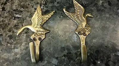 Pair Vintage Brass Hooks, Ducks
