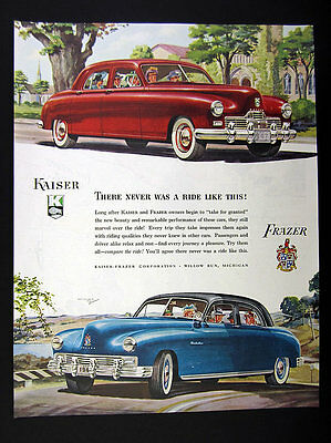 1947 Kaiser Special & Frazer Manhattan blue red sedan art vintage print Ad