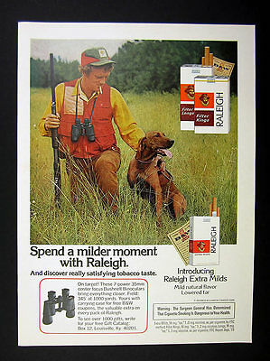 1974 Vizsla dog & Hunter photo Raleigh Cigarettes vintage print Ad