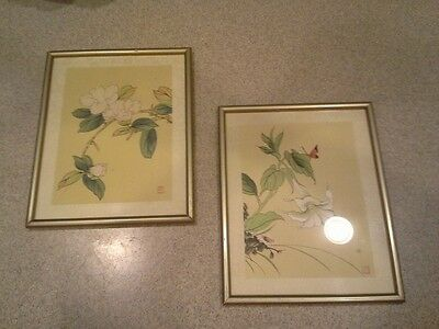 Pair Vintage Chinese Asian Paintings on Silk, Floral