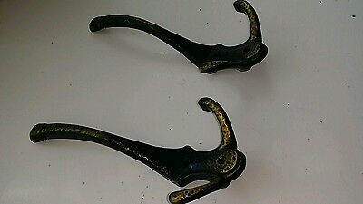 Pair Vintage Cast Iron Victorian Coat Hat Rack Hooks, Hammered Brass W/black Pt