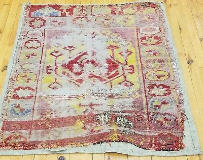 """Pre-1900s Antique 2'11""""×3'6""""  Wool Pile Fragment Prayer Rug for Collectors"""