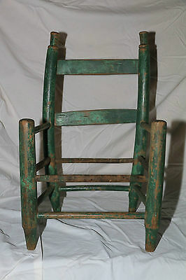 Primitive Folk Art Child Chair With Antique Original Dry Surface