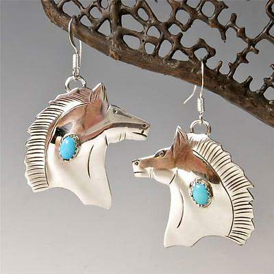 Native American Louise Yazzie Sterling Silver Turquoise Horse Head Earrings
