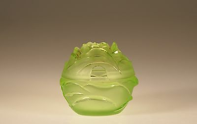 Vintage Clear & Frosted Green Glass Cabbage Shaped Marmalade Jam Jar