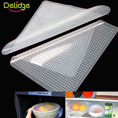 3PCS Reusable Silicone Re-usable Food Storage Wraps Safe Kitchen Wrap