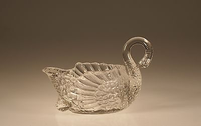Vintage Cambridge Glass Company Crystal Swan Nut Dish Bonbon 6-1/4 Inch c.1930