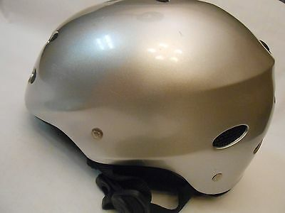 "PRO TEC ""Ace Snow HP"" Skate Skateboard Bicycling Helmet Silver Gloss Sz M 55-56m"