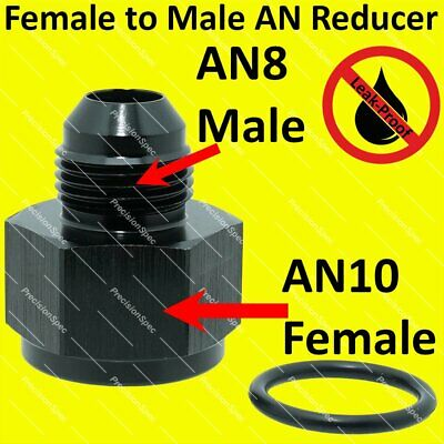 AN10 10AN Female to AN8 8AN Male Flare Reducer Aluminium Fitting Adapter - Black