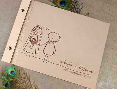 Wooden Wedding Guest Book / Photo Album Couple with Laser Engraved Names
