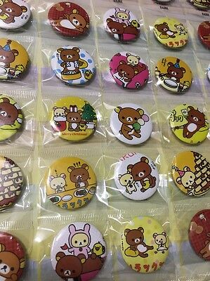 6pcs Rilakkuma Bear 30mm Plastic Badge Brooch Pin Birthday Party Lolly Bag Gift