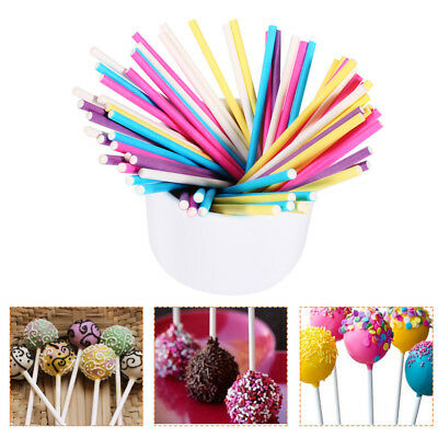 50Pc Colourful Paper Sticks for Cake Chocolate Candy Lollipop Pop DIY
