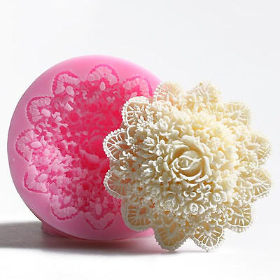 7cm Fondant Lace Flower Mold Silicone Cake Mould Large Cake Decoration Tool