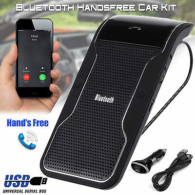 Wireless Bluetooth Car Kit Handsfree Speaker Phone Visor Clip for Samsung iPhone