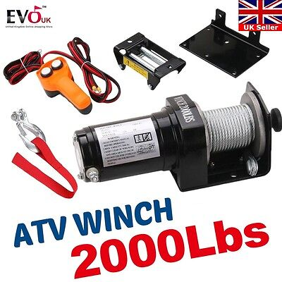 2000 Lb Atv Winch Electric 12V Volt Recovery Boat Trailer Truck Plow New