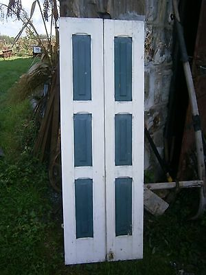 1800's Raised Panel Wooden House Shutters Batten Board with hardware