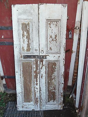1800'S Original Raised Panel Batten Board Wood Shutters W Strap Hinges & S Dogs