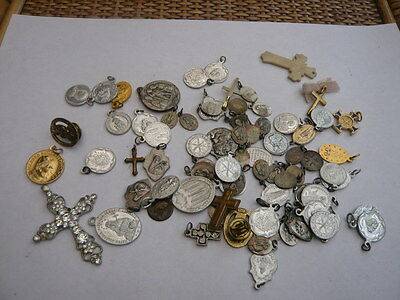 Job Lot Vintage Religious Medal Medallion Cross Crucifix Ideal For Rosary Beads