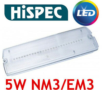 Hispec IP65 Emergency Lighting 5W LED Bulkhead Maintained or Non Maintained