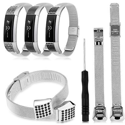 Mesh Milanese Crystal Stainless Steel Replacement Wristband Strap Fitbit Alta