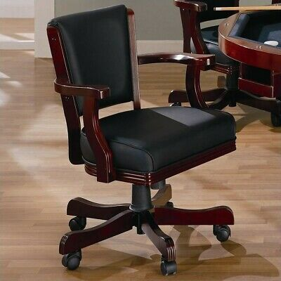 Coaster Mitchell Upholsted Arm Chair with Casters in Cherry Poker Table