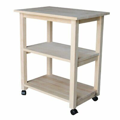 KITCHEN MICROWAVE STAND Wood Utility Island Cart Hutch ...