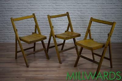 Vintage Industrial Yellow Wooden Folding Cafe Bar Kitchen Chairs 14 AVAILABLE