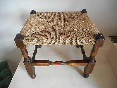 oak wooden stool with cane top
