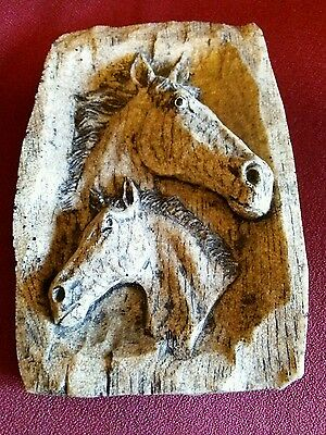 Sculture of two Horses w/apparence of wood #574