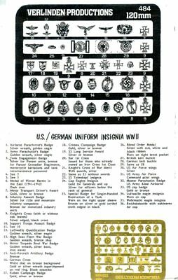 Verlinden Productions 120mm 1:16 US and German Uniform Insignia WWII - PE #484
