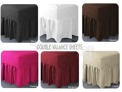 Luxury Double Size Valance Bed Sheet Percale Cotton Mattress Bedding Cover
