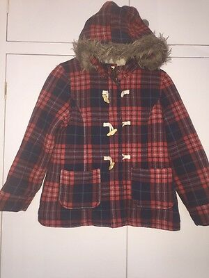 Mini Boden Coat Duffle Age 11-12 Used Red Navy Check Warm Winter Used