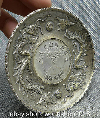 89MM Old Chinese Folk Collect Miao Silver Empress Dowager Ci Xi inlay Coin Dish