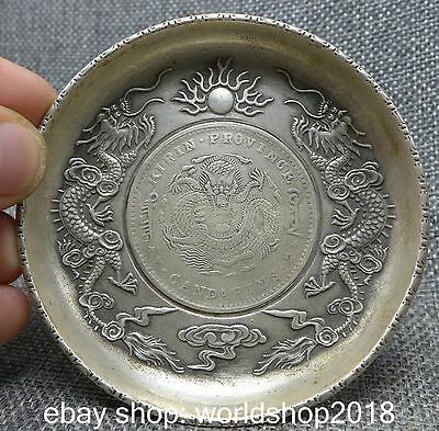 80MM Chinese Miao Silver Three Dragon Play Fire Ball inlay Coin Plates Dish