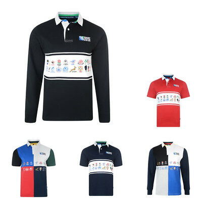 ead01bd4468 RUGBY WORLD CUP Mens Harlequin Short Sleeve Rugby Shirt Size L Bnwt ...