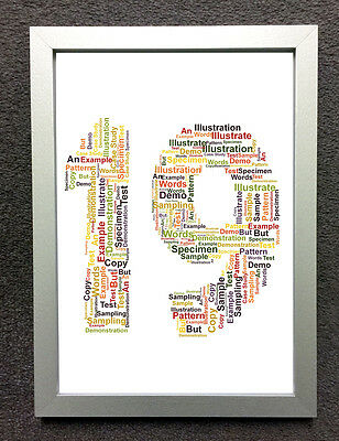 19th BIRTHDAY ANNIVERSARY SIZE /& FRAME CHOICES PERSONALISED WORD CLOUD ART