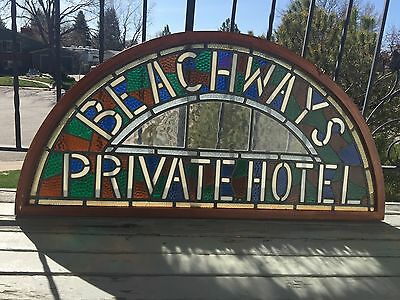"""Stained Glass Sign """"Beachways Private Hotel"""" 48"""" X 23 1/2"""""""